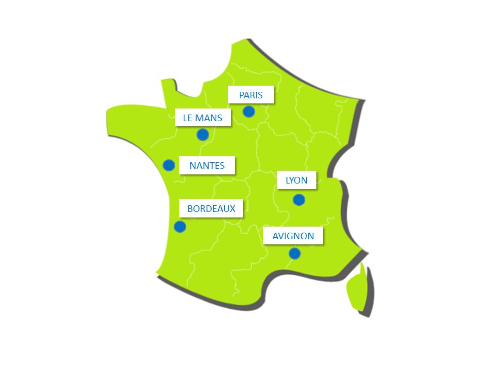 Paris - Le Mans - Lyon - Nantes - Bordeaux - Avignon