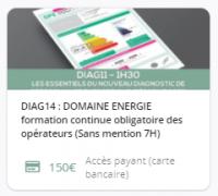 DIAG14 : DOMAINE ENERGIE (NOUVEAU DPE) : Formation continue obligatoires des opérateurs (7H)